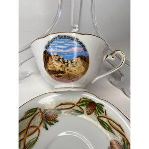 Mt Rushmore South Dakota Souvenir Vintage Cup Sauc
